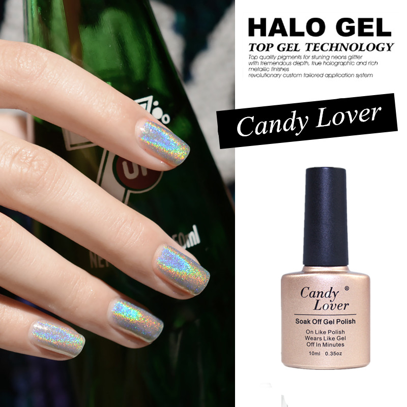Hologram Gel Nail Polish: Candy Lover New Avvaile 3D Holographic Halo Gel Nail
