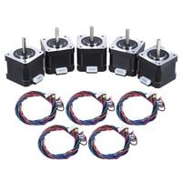 5 pces nema 17 stepper stepping controle de acionamento do motor 2 fase 1.8 graus 0.9a com cabo de ligação impressora 3d/cnc substituição acessório|step motor cable|step motor 3d|degree -