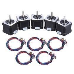 5 pcs Nema 17 Stepper Melangkah Drive Motor Control 2 Fase 1.8 Derajat 0.9A dengan Memimpin Kabel 3D Printer/CNC Penggantian Aksesori