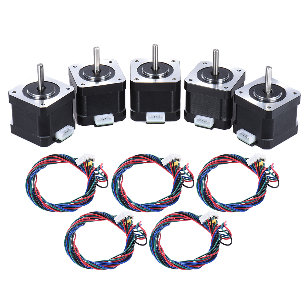 5pcs Nema 17 Stepper Stepping Motor Drive Control 2 Phase 1.8 Degree 0.9A With Lead Cable 3D Printer/CNC Accessory Replacement