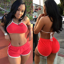 Women Sexy Fitness Stretch Crop Tank Tops Hot Pants Shorts Bra Set Halter Backless Brief Set 2 Colors Solid Bra Sets