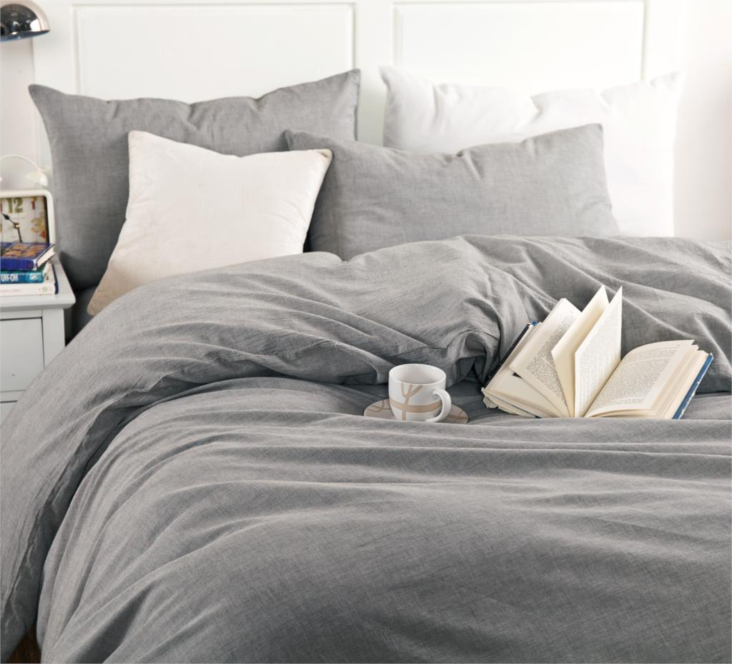 Bedding set 4pcs Hotel 100%Washed cotton Solid Gray color Duvet cover Set Fitted sheet set Queen/King Free fast shipping NO4