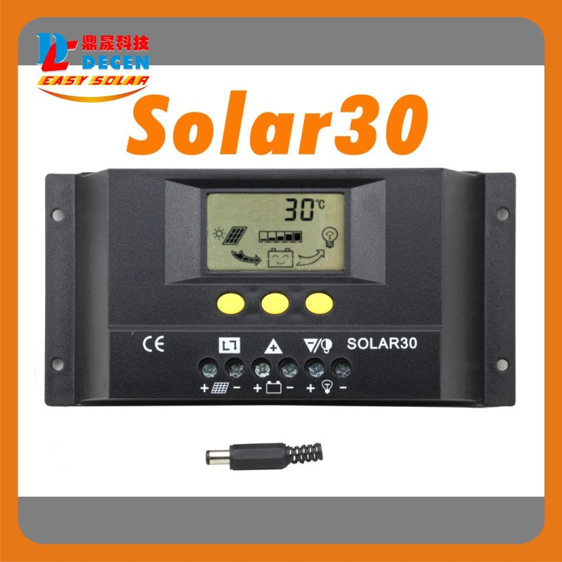 Solar30  30A  LCD Solar Charge Controller 12V 24V PV panel Battery Charger Controller Solar system Home indoor use 2014 New a funssor lcd controller panel for flashforge creator pro 3d printer lcd panel fast ship