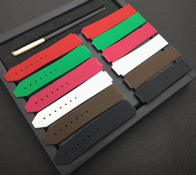 Красный, черный, белый, коричневый, зеленый ремешок для Hublot ремень женские резиновые силиконовые часы ремешок 15*21 мм логотип на бабочке инструменты