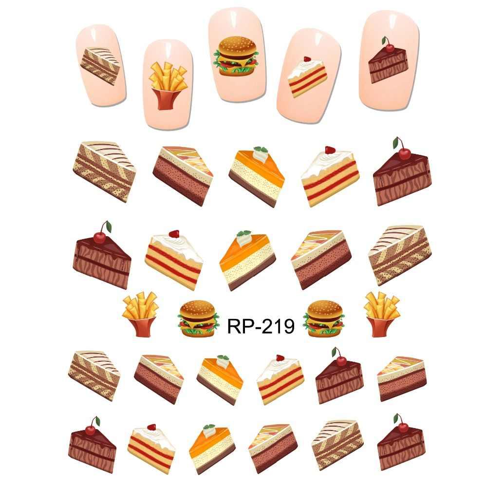 Uprettego Nail Art Beauty Water Stiker Slider Kartun Lucu Makanan Penutup Es Krim Kelapa Kue Buah Ceri Piala RP217-222