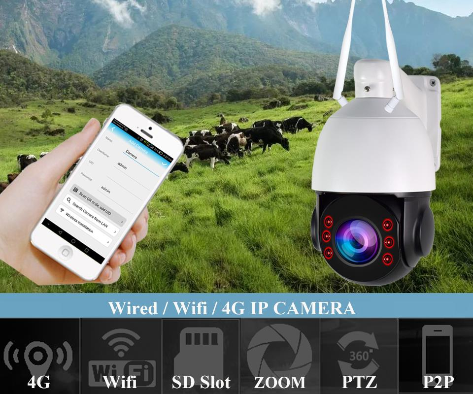US $137 85 20% OFF|HD 1080P 3G 4G WIFI CCTV Camera SIM Card Wireless PTZ IP  Camera Wi Fi Speed Dome Outdoor 5X 20X Zoom SD Card Slot Two Way Audio-in