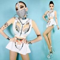 10 zestaw/partia biały przyszłość kobiet przestrzeń warrior podział garnitury topy + spodenki + Costome dołem + Nit Maski Party DS Etap Wear #8397