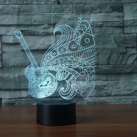 3D LED Color Night Ligh Changing Lamp Guitar Moulding Bulbing Light Acrylic 3D Illusion Desk Lamp