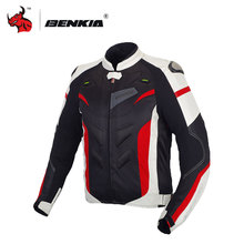 BENKIA Motocycle Racing Jacket Coat Motorcycle Windproof Riding Off-Road Racing Sports Jacket With Protector Guards