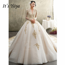 It's YiiYa Wedding Dress Long Sleeve V-neck Gowns Train