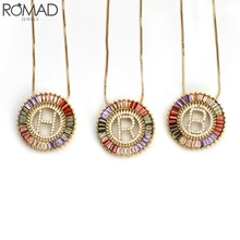 ROMAD Rainbow Cubic Zirconia English Letter Pendant Necklaces Women Men Punk Initials Choker Necklace Party Jewelry R3