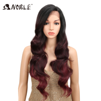 NOBLE Ombre Wig Body Wave 1.5*13.5 inches Side Lace Front 150 Density 28 2 Colors Heat Resistant Synthetic Wigs For Black Women