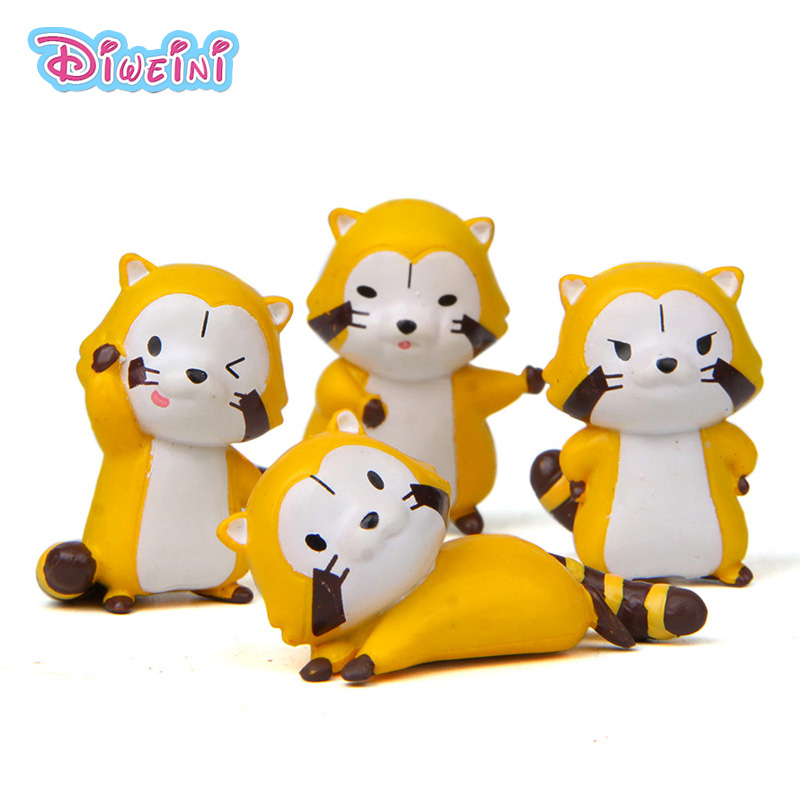 Toy Figurine Raccoon-Model Miniature Diy-Accessory Gift Animal Artificial 4pcs Dollhouse-Decoration