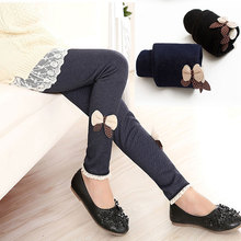 цены на new kids girls jean bow pants cotton cashmere pants elastic waist girls legging warm pants winter spring children pants  в интернет-магазинах