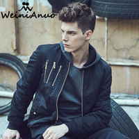 WEINIANUO 2017 Autumn Black Bomber Jackets With Zippers High Quality Coats Tcatical Thin Pilot Bomber Jackets