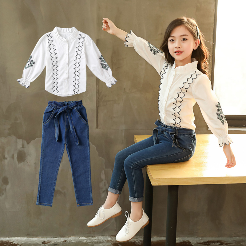 Autumn Baby Girls Clothes Set Big Girls Back To School Outfits Long Sleeve White Blouses Shirts + Denim Pants Jeans 2pcs Suits 2018 spring autumn infant baby girls denim clothing set 3pcs lace long sleeve t shirts jeans jacket pants outfit