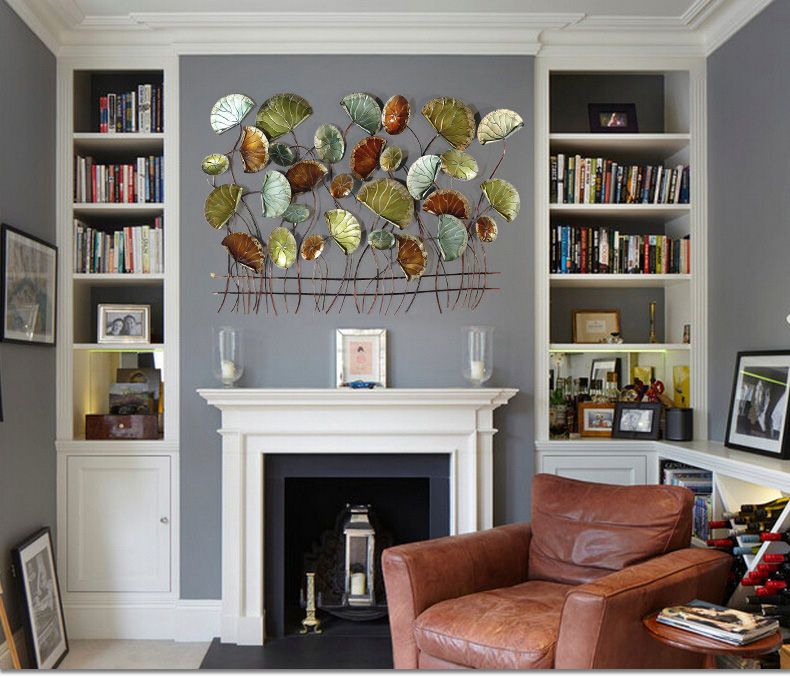 Современные Кованые Настенные Подвески в виде лотоса, украшения для стен, для дома, гостиной, дивана, фон, 3D Наклейка на стену, настенные украшения - 6