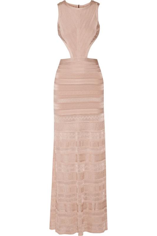Long Bandage Dress 2016 New Arrival Black Pointelle High Quality HL Bandage Gown for Women
