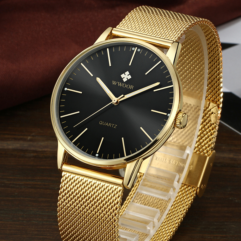 WWOOR Top Brand Luxury Men's Quartz Waterproof Gold Watches Men Ultra Thin Analog Clock Male Sport Wrist Watch relogio masculino wwoor men watches waterproof ultra thin quartz clock male gold mesh stainless steel watch men top brand luxury sport wrist watch