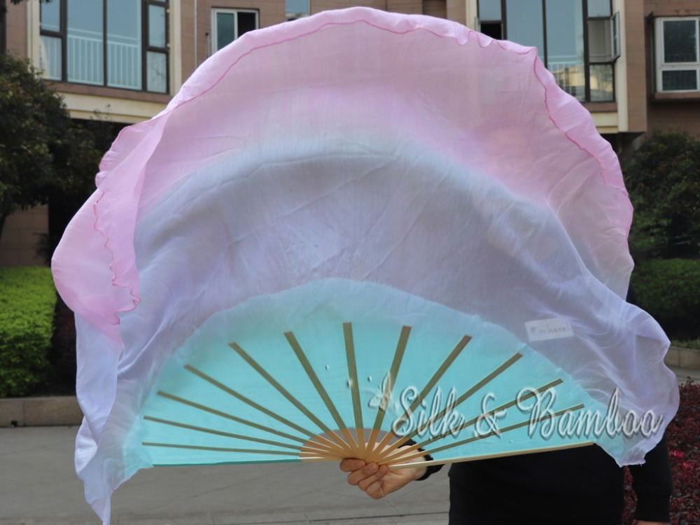 1 Pc Rechterhand Pastel (turquoise-paars-roze) 40 Cm Bamboe + 60 Cm Zijde Chinese Dance Zijde Fan (flutter), Real Flowy Zijde! Noch Te Hard Noch Te Zacht