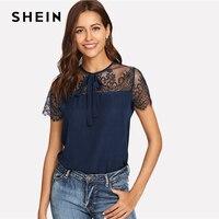 SHEIN темно-синяя Кружевная блуза с кружевным плечом и контрастной сеткой на пуговицах Весенняя повседневная женская блуза с круглым вырезом ...