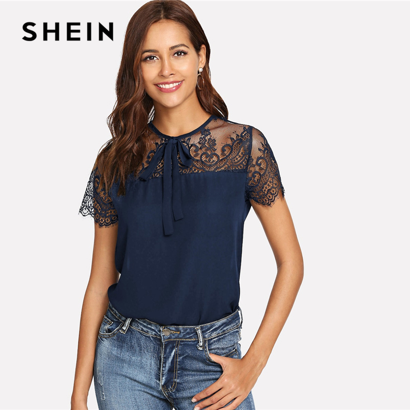 SHEIN Navy Tie Neck Lace Shoulder Contrast Mesh Button Top Blouse Spring Weekend Casual Round Neck Women Tops And Blouses