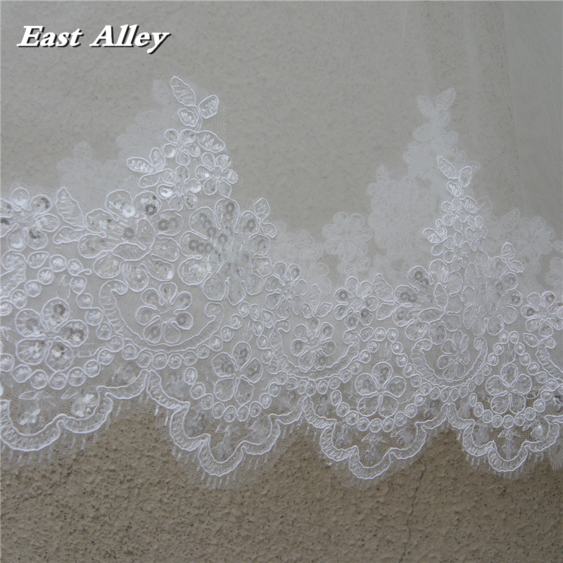 1 Layer Cathedral Length 3M Lace with Sequins Wedding Bridal Veil