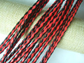 5Yards 4mm Faux Leather Cord Red/Black Braided PU Leather Cord For Bracelet Necklace Making