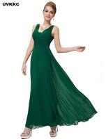 UVKKC Fashion Women Chiffon Dress Maxi Bohemian Style Sleeveless Hollow Out Deep V Neck Wedding Party