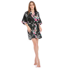 Sleepwear  Silk Slik Robe Sleep S-xl Plus Size For Summer 1005