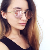 2017Future Women Men Round Sunglasses Steampunk Shades MultiColor Gradient Mirror Lens Goggles Designer Vintage Sun Glasses 6676