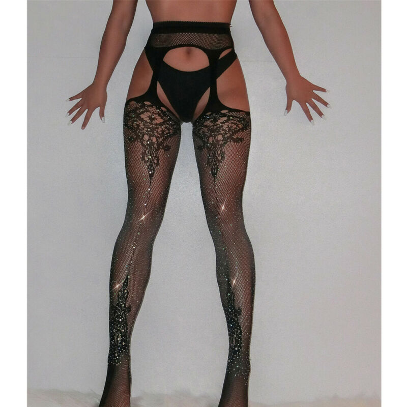 Top Women Sexy Fishnet Tights Stocking Thigh Suspender Pantyhose Mesh Stocking Black New Crystal Rhinestone Panty Belted Fishnet