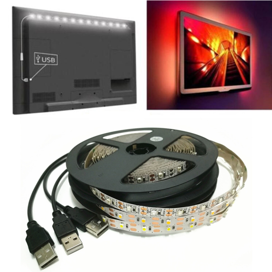 DC 5V USB LED Strip Light 5050 3528/2835 SMD Non-waterproof RGB LED Tape Stripe With 24 keys Remote For TV Background Lighting ring 5v 16 5050 rgb led with integrated drivers module for arduino led lighting strip