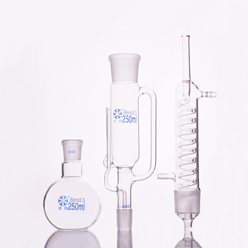 Extraction apparatus,Soxhlet with coled condenser and ground glass joints,Flask capacity 100ml/150ml/250ml/500ml/1000ml ...