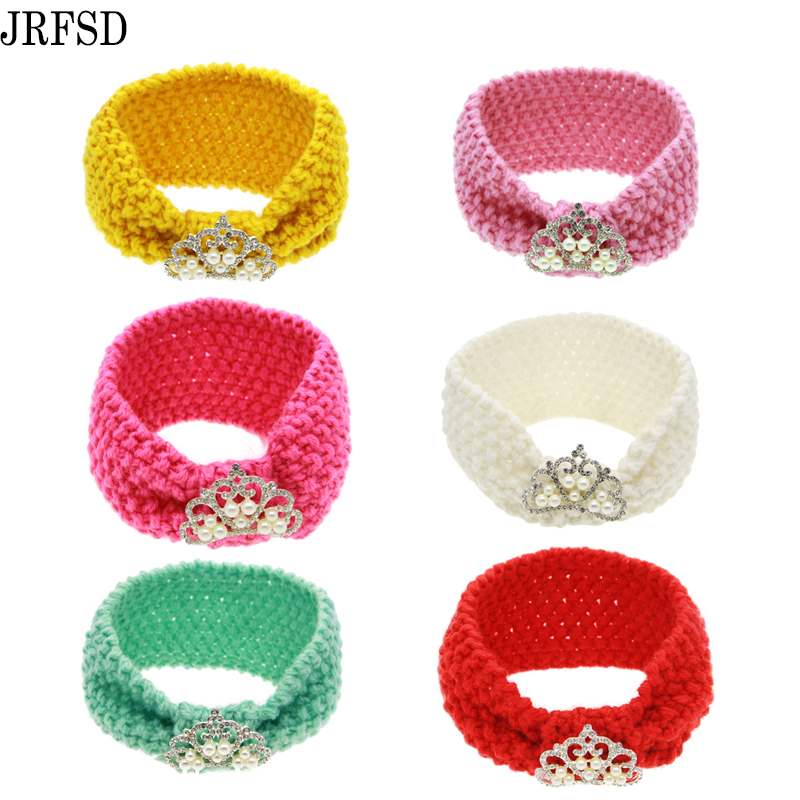 JRFSD Cute Headband Knit Knot čelenka Flower Hair Bands Elastic Hairband děti vlasové doplňky