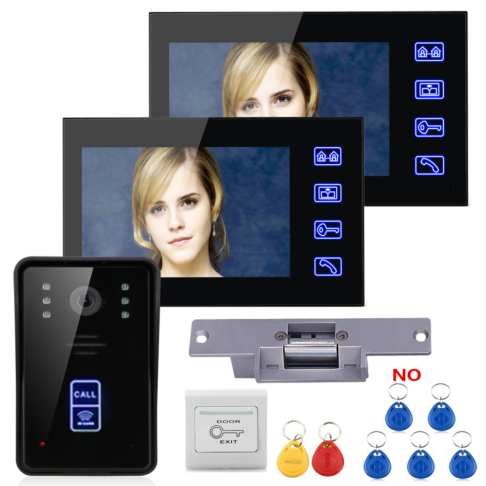 Home Intercom System 2 Video Monitor 7 Door Phone Intercom Doorbell Night Vision+Electric Strike lock NO+RFID User Card Express 7 inch color tft video door phone doorbell intercom kit 2 camera 1 monitor night vision electric lock control mfbs