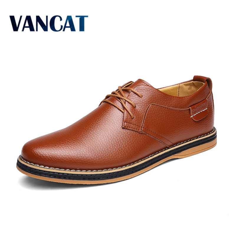VANCAN  Vintage Italian Mens Oxfords Faux Leather Formal Shoe For Man Dress Shoes Round Toe Men Flats Tenis Casual Zapatos