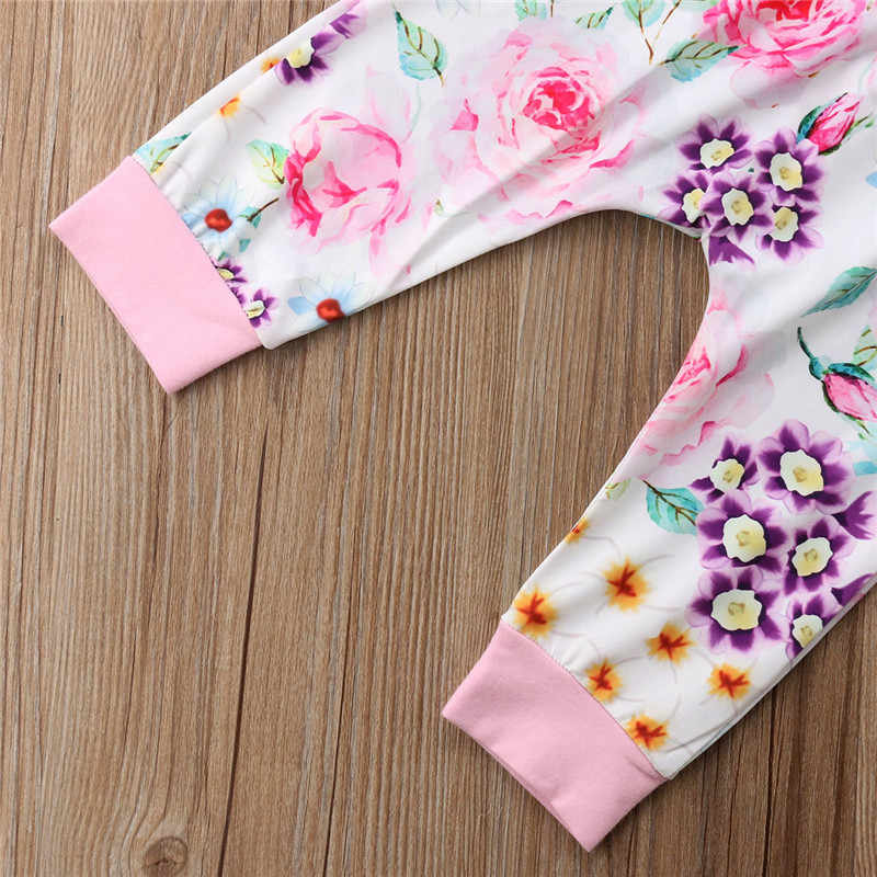 Высококачественная одежда для новорожденных девочек Рубашка с длинными рукавами и цветочным принтом и сердечками Топы + длинные штаны с цветочным принтом + шапка, комплект из 3 предметов новый осенний комплект