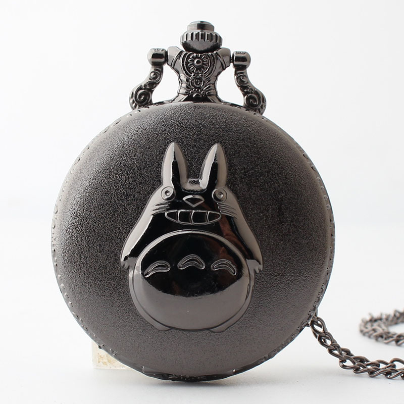 Fashion Cartoon Animal  Black FOB Pocket Watches With Chain Lovely Quartz Fob Watches Free Shipping 2017 New Design