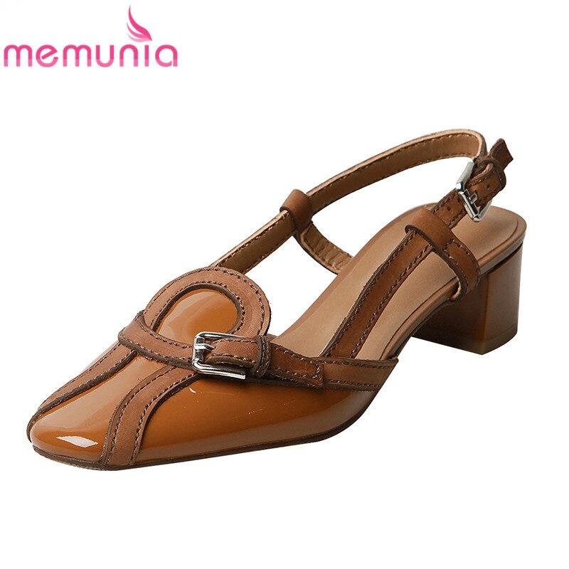 c6954d1c1a6ba Leder Qualität 2019 Schuh Damen Retro Schuhe Frauen Schnalle Memunia Casual  Mode Sommer Kuh Apricot Echtem brown Sandalen Hohe 7tqnAUx