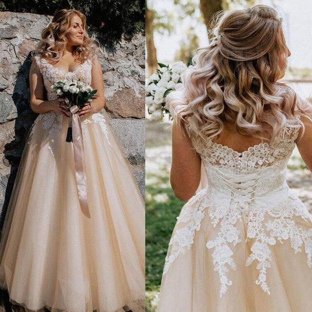 V-neck Lace Applique Cap Sleeve Long Elegant A-line Wedding Dress with Lace-up Pearls Champagne Bridal Dress vestido de novia 1