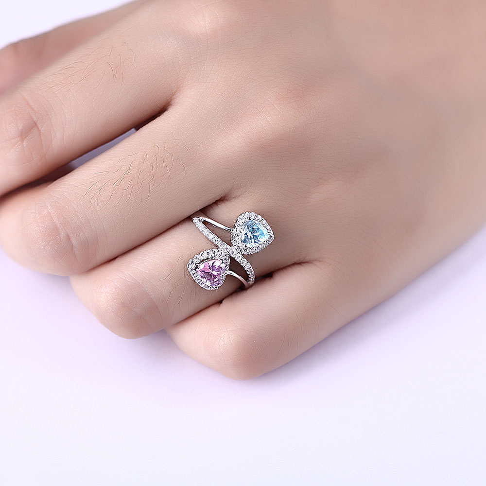 DOUBLE R Classic Created Blue Topaz And Created Pink Sapphire 925 ...