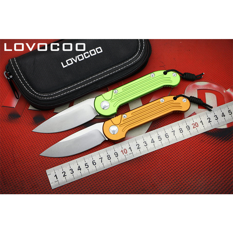 LOVOCOO L.U.D.T D2 blade Aluminum handle Flipper folding knife Outdoor camping hunting pocket fruit knives EDC tools Survival voltron f95 flipper folding knife bearing d2 blade g10 steel handle outdoor camping hunting pocket fruit knife edc tools