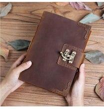 100% couro ultra grosso caderno artesanal de couro retro diário plano de esboço de viagem high end presentes de negócios podem ser logotipo personalizado