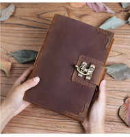 100% leather ultra thick notebook handmade retro leather diary travel sketch plan high-end business gifts can be customized logo