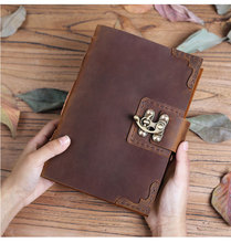 100% الجلود فائقة سميكة مفكرة اليدوية الرجعية الجلود مذكرات السفر رسم خطة الراقية الهدايا التجارية يمكن شعار مخصص