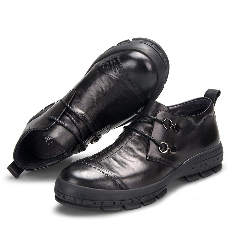 Nouveaux hommes d'affaires chaussures décontractées en cuir chaussures hommes printemps et automne britannique rétro respirant à la main mode-in Chaussures décontractées homme from Chaussures    3