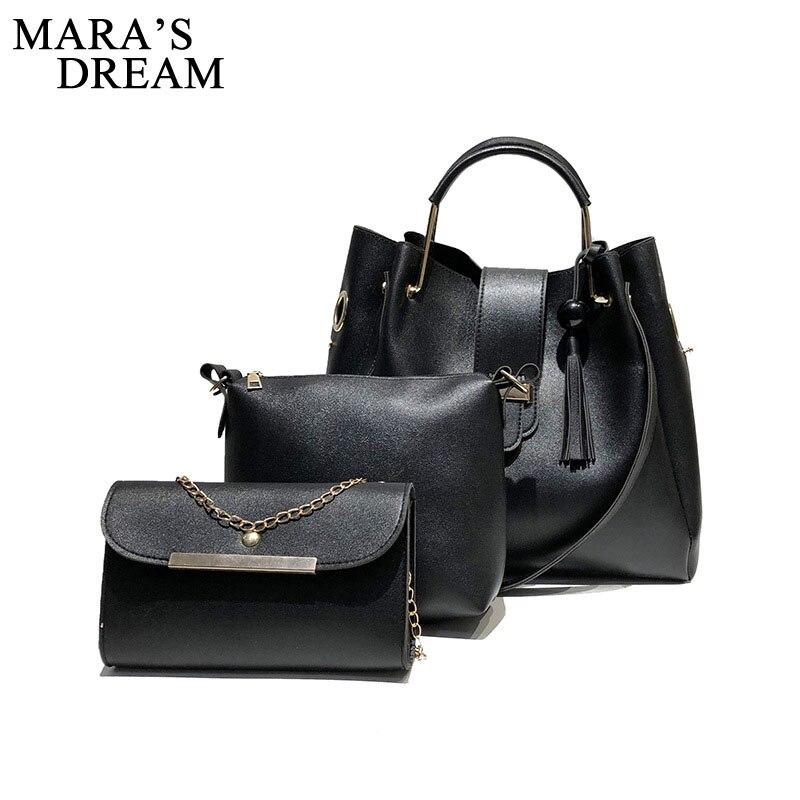 Mara's Dream 2018 Fashion Crossbody Bags For Women Leather Handbags Shoulder Bag Female Soft Solid Bag Women Messenger Bags Set 4