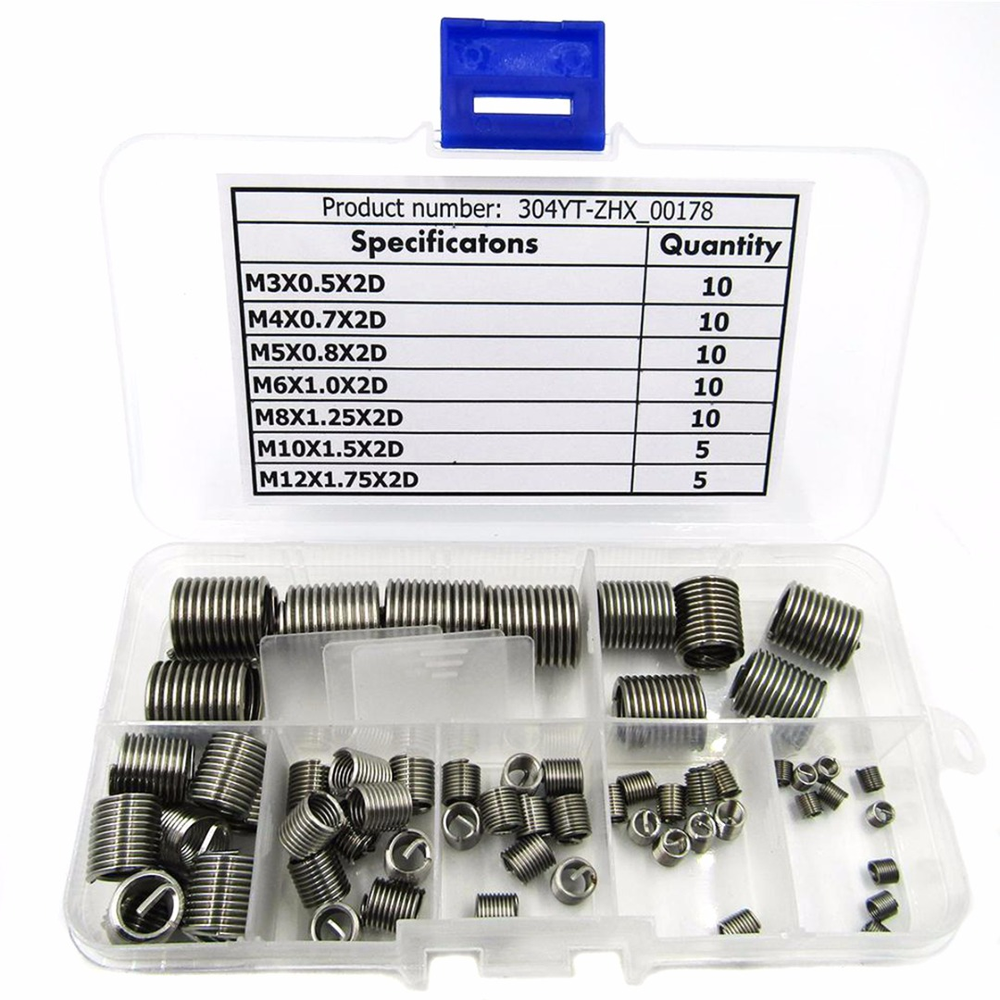 цена на 60pcs M3-M12 Stainless Steel Silver Thread Repair Insert Kit M3 M4 M5 M6 M8 M10 M12 Mayitr Hardware Accessories