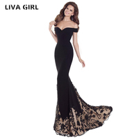 Liva Girl 2018 Sexy New Bra Off Shoulder Retro Geometry Sequin Female Dresses Floor Length Party